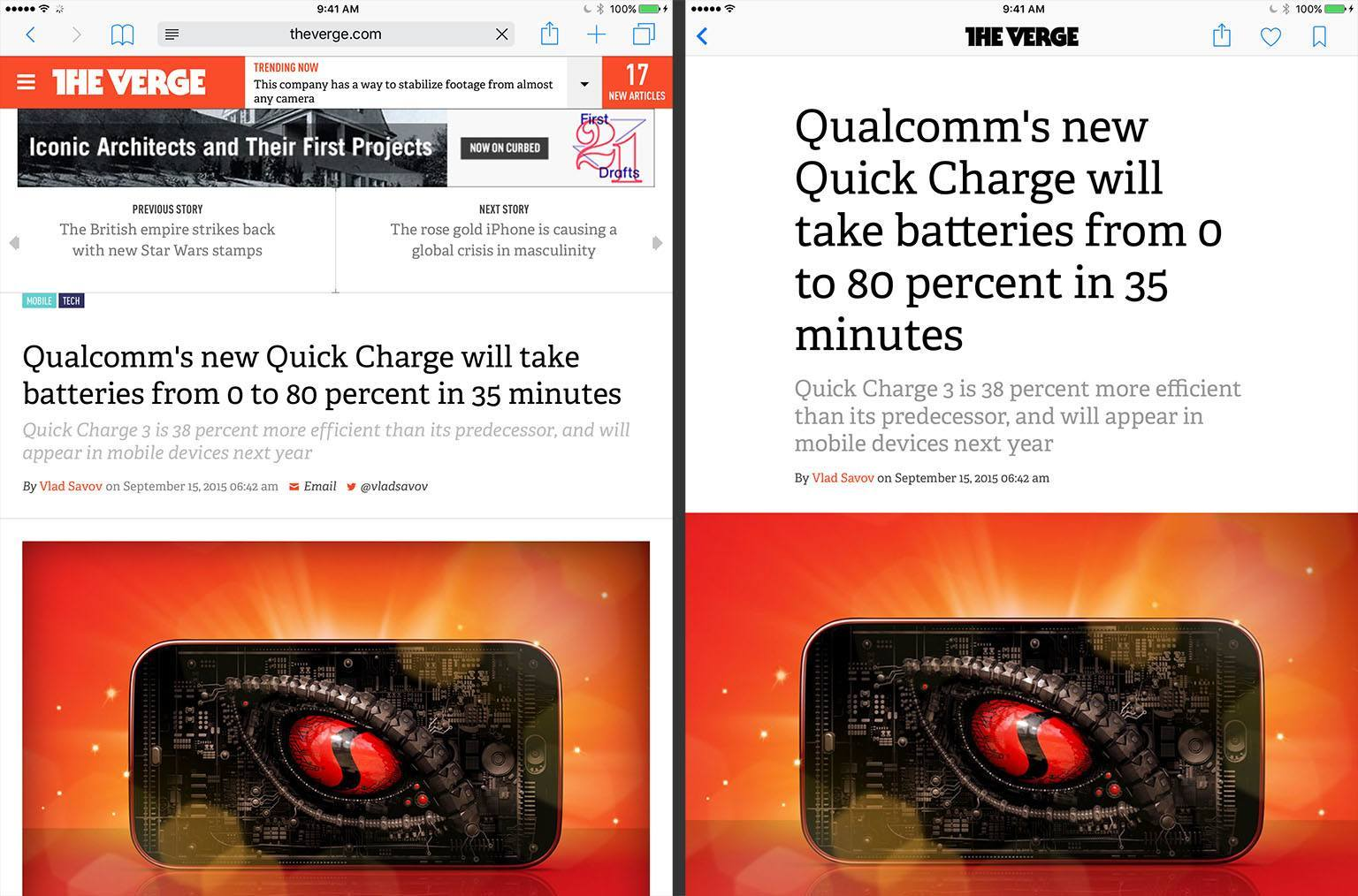 Reading an article from The Verge on their website (left) and in News (right)