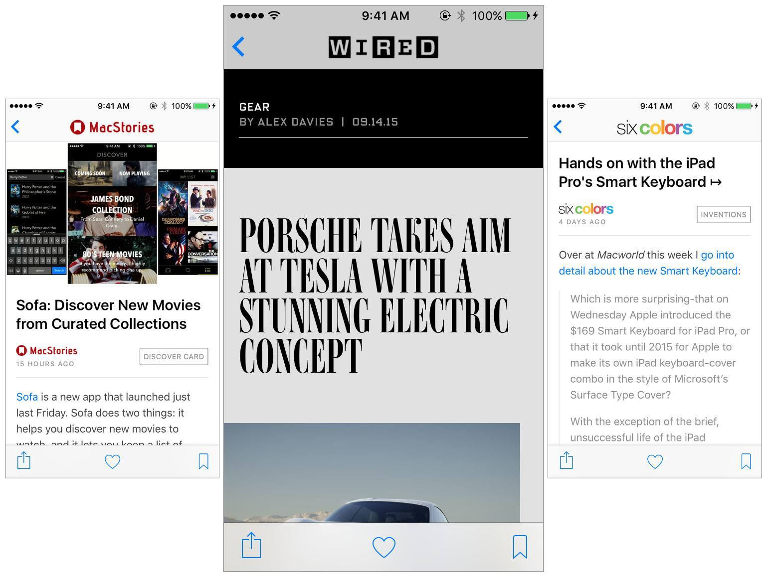 What it looks like to read a MacStories, Wired and Six Colors article in Apple News. Wired looks so unique because they are able to publish stories using the Apple News Format.
